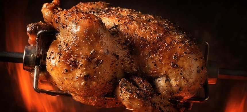 Spit roast chicken at Capri